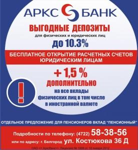 Вклады физ лиц в 2016 году и проценты Арскбанка